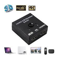 2 Port HDMI Umschalter Switch Splitter Verteiler 1 IN 2 OUT 4K 3D HDTV 1080p  XS