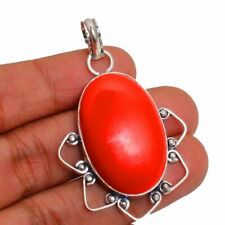 Plated Handmade Pendant Hp-222 Coral Gemstone 925 Sterling Silver