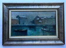 Grand tableau début XXe signé, Bateaux à quai, Port enneigé, Encadré, sous verre
