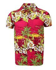 MENS HAWAIIAN SHIRT STAG BEACH HAWAII ALOHA  SUMMER HOLIDAY FANCY MAGENTA SUN