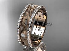 Classic Wedding Bands, 14K Rose Gold Modern Diamond Engagement Ring ADLR414BA
