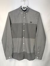 Fred Perry Men's XS Extra Small Slim Fit Plaid Check L/S Button Down Shirt EUC