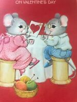 Vintage Valentines Day Card Hallmark Married Mice Pink Slippers Nightgown