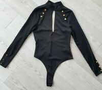 Asos bodysuit black military style long sleeve with buttons open back size UK 12