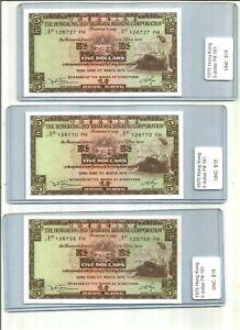6 Hong Kong 5 Dollars Banknotes 1975 P-181 UNC