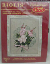 Riolis Counted Cross stith & Ribbon Embroidery Kit - Pink Roses Bouquet