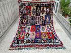 Vintage Handmade Moroccan Boucherouite Rug Azilal Berber Carpet Beni ourain Rug