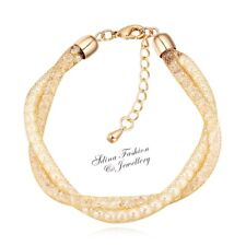 18K Gold Plated Made With Simulate Swarovski Pearl Stylish Mesh Bracelet