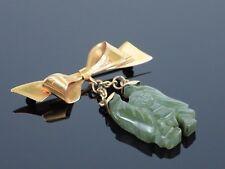 Vintage c1920 Jadeite Jade Carved Buddha 9K Yellow Gold Brooch Pin 7.7g