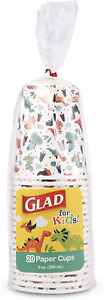 Glad for Kids Dinosaur Paper Cups|20 Count White Paper Cups with Dinosaur Design