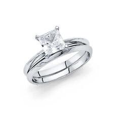 14k White Gold CZ Plain Solitaire Princess Wedding Engagement Bridal Ring Band