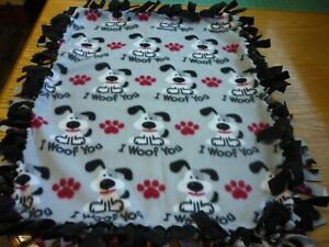 Handmade fleece tie blanket of I WOOF YOU  for a small pet