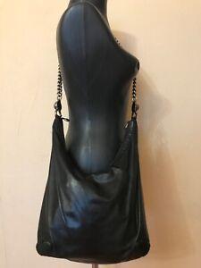 Gucci GG Chain Hobo black leather shoulder bag