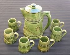 Vintage Glazed Clay Olive Green Pitcher and Cup Set Carafe Mug Stein Latvija 60s