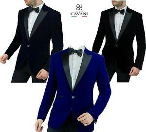 Men's Velvet Blazer Smart Formal Prom Dinner Jacket Slim Fit One Button