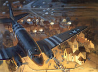 """Ste-Mere-Eglise"" Tom Freeman Print - C-47 at Normandy, D-Day June 6th 1944"
