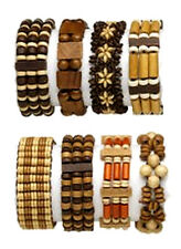 Wood Bead Bracelet Mix Sustainable Wooden Beads Lot of 8