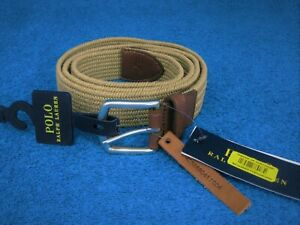 Polo Ralph Lauren  Mens Braided Stretch Cotton Leather Belt Large Beige New !