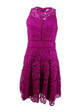 Adelyn Rae Womens Purple Crochet Overlay Crew Neck Cocktail Dress XS BHFO 2765