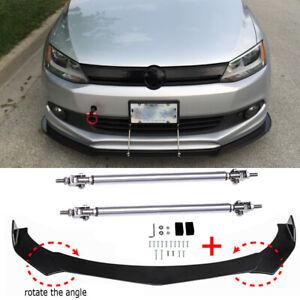 Front Bumper Lip Splitter Spoiler Strut Rods For Volkswagen VW Passat Jetta MK6