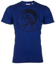 DIESEL Mens T-Shirt ACHEL Mohawk Logo ROYAL BLUE Casual Designer $58 Jeans NWT