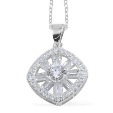WHITE VS CLEAR SIMULATED DIAMOND SOLITAIRE PAVE ACCENT PENDANT NECKLACE STERLING