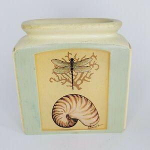 Art in Motion Chad Barrett Shell Dragonfly Flower Bud Vase Hand Painted EUC