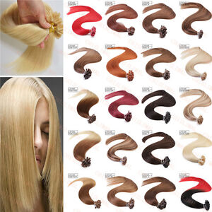 100/200S Keratin Pre Bonded Nail U Tip Glue Remy Human Hair Extensions 16-22""