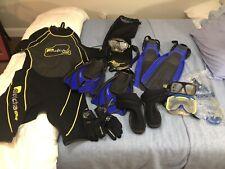 Lot Of Scuba Diving Gear - Wet Suit, Fins, gloves, booties, Masks, Snorkels