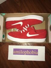 New Men's Nike SB Zoom Stefan Janoski CNVS Size 7.5 Red White Skateboarding Shoe