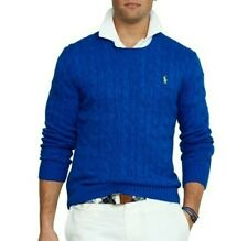 New POLO Ralph Lauren Boys100% Pima Cotton Sweater Crew Neck Blue Large (14-16)