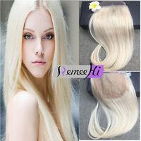 "Brazilian Lace frontal Closure 4*4"" silk straight 100% human hair Blonde 613#"