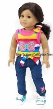 Butterfly Denim Pant Set 18 in Doll Clothes Fits American Girl
