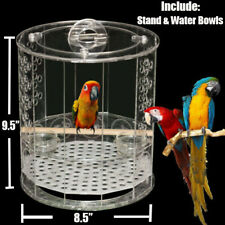 Acrylic Bird Cage W/ Stand & Water Bowls Fits Small Parrot Parakeet Conure Macaw