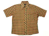 VTG 70s JCPenney Towncraft Mens Tapered SS Button Up Multicolor Plaid Shirt Sz S