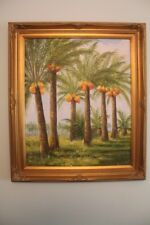 Tropical paradise Palm Trees oil on canvas painting signed M.Harding 24x20
