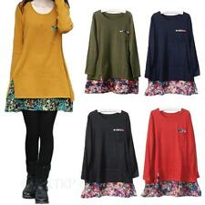 Crew Neck Floral Cotton Blend Extra short, Micro mini Women's Dresses