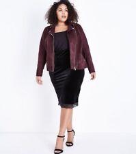 NEW LOOK ~ Curves~ Black Velvet Lace Hem Pencil Skirt ~UK Size 26~ Evening/Party