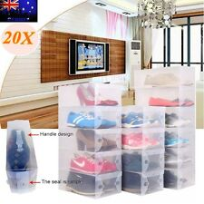 20X Transparent Clear Plastic Shoe Storage Box Foldable Boxes Lot Bulk AU STOCK