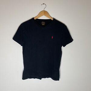 POLO RALPH LAUREN Mens S Short Sleeve Black T-Shirt V-Neck Embroidered Red Logo