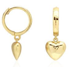 Solid 14K Yellow Gold HUGGIES Earrings Dangling Sweet Puffed Hearts 1.44g NEW
