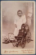 Victorian era cab card photo of young girl w/GREAT studio props from Waco, Texas
