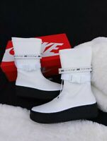 SZ 6 WOMEN'S NIKE AIR FORCE SAGE HIGH  WATERPROOF BOOTS AQ2771-100 WHITE BLACK