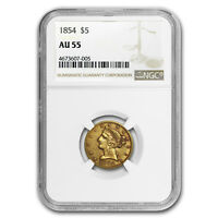 1854 $5 Liberty Gold Half Eagle AU-55 NGC - SKU#175851