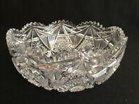 "American Brilliant Period Antique Crystal Hobstar 8"" Bowl"