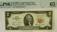 $2 1963A PMG 65 EPQ GEM UNCIRCULATED LEGAL TENDER US NOTE  GRANAHAN/FOWLER