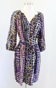 Presley Skye Black Colorful Abstract Print Tie Waist Silk Shift Dress Size S
