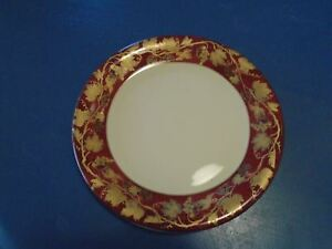 NEW Crate & Barrel Volante Buffet Plates Gold Leaf on Burgundy Smooth Verge