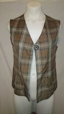 Charlie Vella Ladies Waistcoat in a Brown Check Lined Size 12