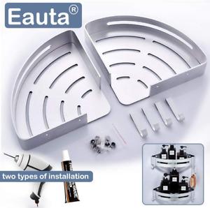 Eauta Shower Corner Caddy Bathroom Corner Shelf with Two Hooks Self Adhesive or